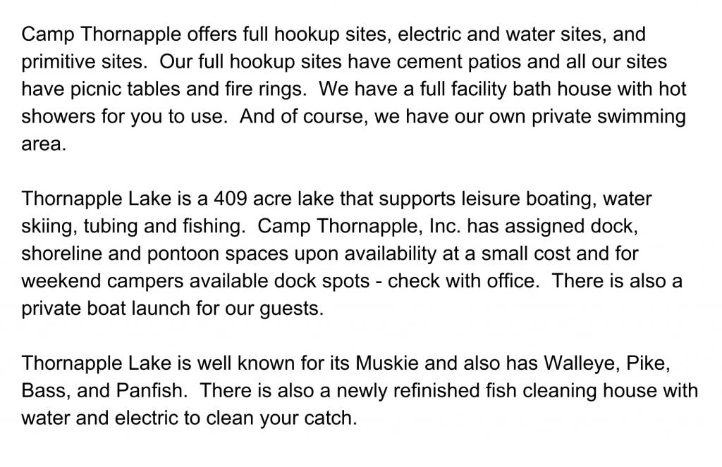 Camp Thornapple Description